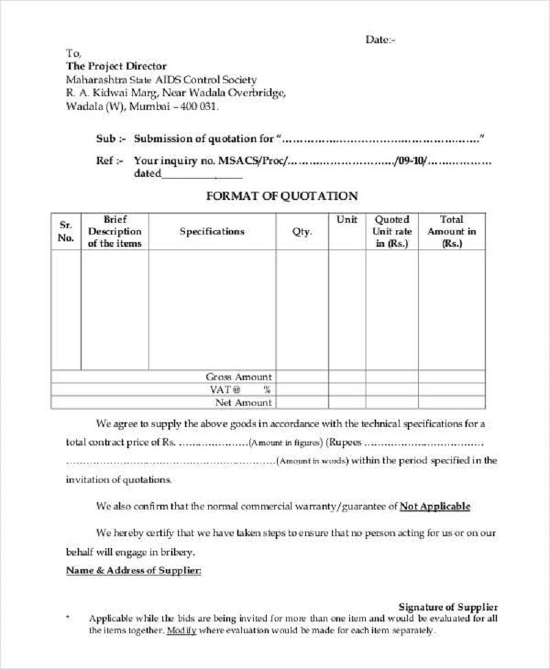 mẫu báo giá phế liệu 3